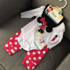 3/6M Minnie Mouse Bodysuit Hat & Pant Set